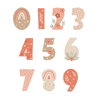Clipart with numbers and floral elements. vector illustration.