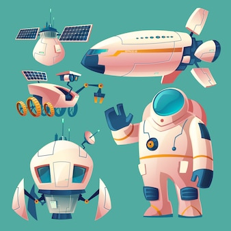 Clipart with objects for space exploration, astronaut in spacesuit, rover, shuttle