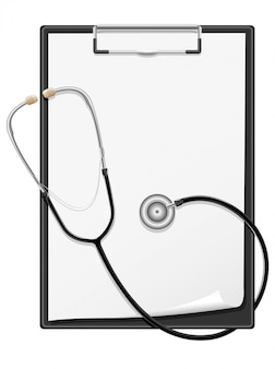 Clipboard blank sheet of paper and stethoscope