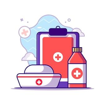 Clipboard, бутылка и шляпа медсестры