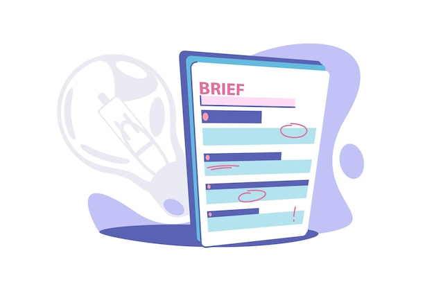 Clipboard brief paper vector illustration. business brief with red marks flat style. short review with information. summary or brief concept. isolated