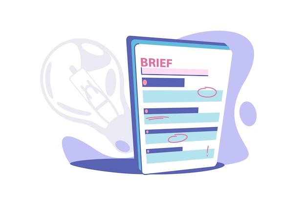 クリップボードの簡単な紙のベクトル図。赤いマークのフラットスタイルのビジネスブリーフ。情報付きの短いレビュー。要約または簡単な概念。孤立