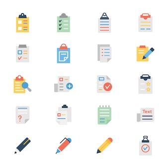 Clipboard document flat icons pack