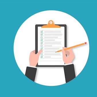 Clipboard. hand filling checklist on clipboard.businessman hands holding clipboard checklist with pen.hand holding clipboard with checklist and pencil. clipboard checklist