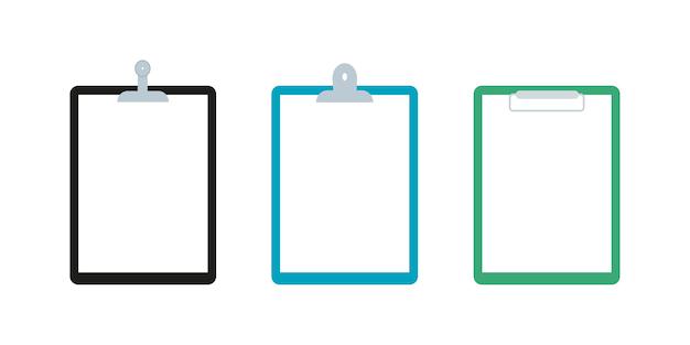 Набор иконок буфера обмена. различные скрепки. пустая белая бумага. векторная иллюстрация плоский дизайн.
