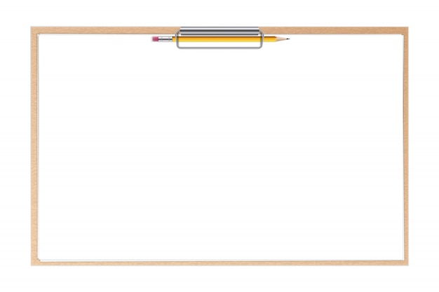 Clipboard paper sheets and pen blank background