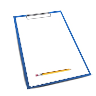 Clipboard paper sheets, pen blank template.