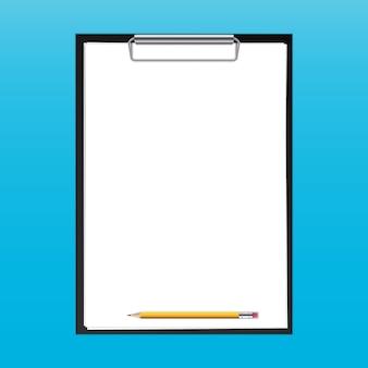 Clipboard paper sheets, pen blank template.