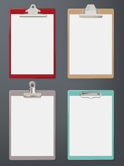 Clipboard realistic. paper blank tablet office supplies sheet clipboard vector template. clipboard for office work, empty pad page illustration