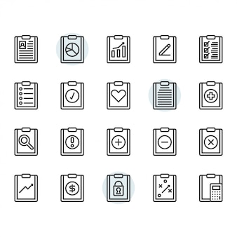Clipboard related icon and symbol set in outline