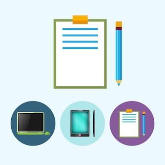 鉛筆でクリップボード。 3つの丸いカラフルなアイコン、ラップトップ、マウス付きノートブック、電話、ガジェット、鉛筆でクリップボード、ベクトル図を設定します。