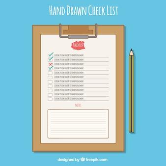 Буфер обмена с контрольный список и карандаш