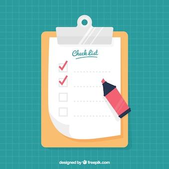 점검표 및 빨간색 마커가있는 클립 보드