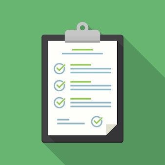 Clipboard with checklist icon in a flat design with long shadow