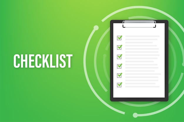 Clipboard with checklist icon for web