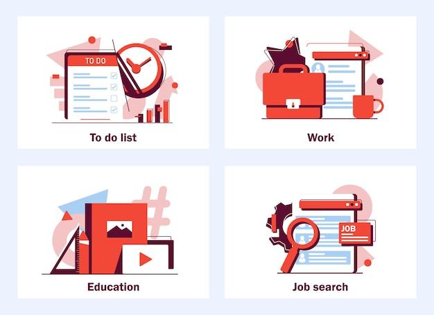 플랫 스타일의 체크리스트가 있는 클립보드 비즈니스 및 마케팅 플랫에 대한 실행 계획 배너 웹 아이콘