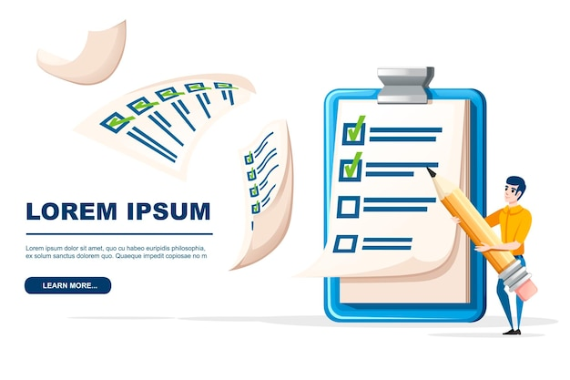 Clipboard with checklist and man holding the pencil flat vector illustration on white background.