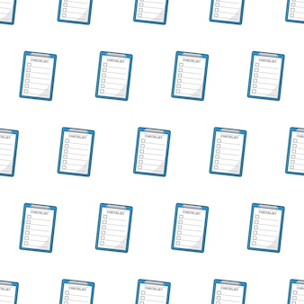 Clipboard with checklist seamless pattern on a white background. checklist theme vector illustration
