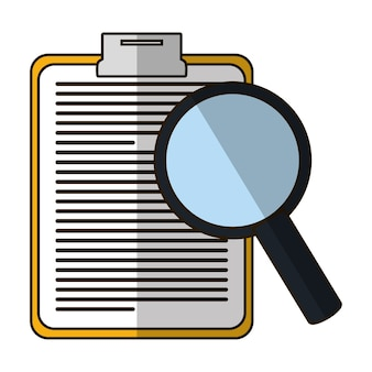 Clipboard with document and magnifying glass