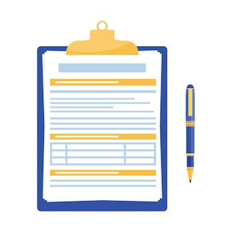 Clipboard with document and pen isolated on white background.
