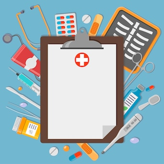 Clipboard with medical elements