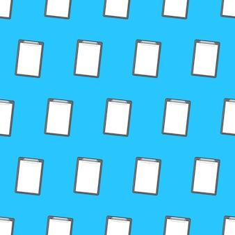 青い背景に紙のシームレスなパターンでクリップボード。学校やオフィスのテーマイラスト