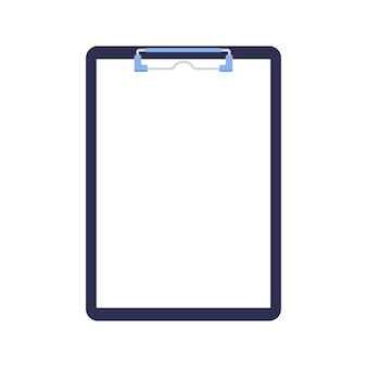 Clipboard with paper sheet blank and blinder clip isolated on white background.