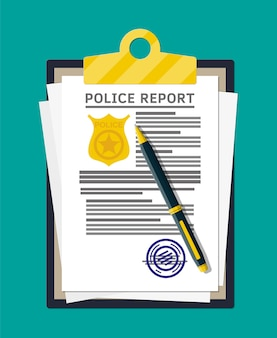Clipboard with police report and pen. report sheet with gold police stamp. legal fine document and stack of papers with stamp