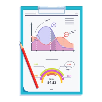 Clipboard with statistics report document paper