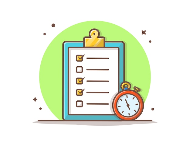 Clipboard with timer vector  illustration.