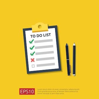 할 일 목록 또는 계획이 포함 된 클립 보드