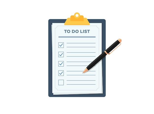 Буфер обмена с контрольным списком планирования, отмеченный ручкой контрольный список на бумаге, форма плоского вектора