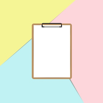 Clipboard with white sheet on pastel color background