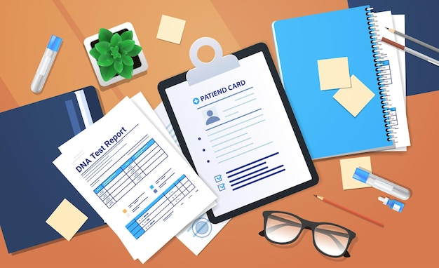 Clipboards documents folders with genetic dna tests and reports clinic medical treatment research and testing