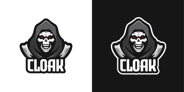 Cloaked skull halloween mascot character logo template