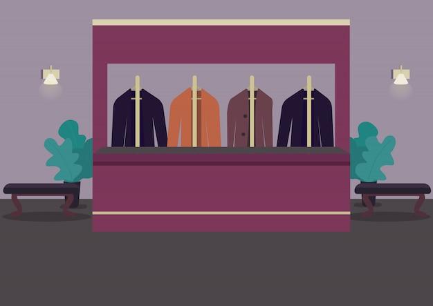 クロークのカラーイラスト。持ち物を選ぶワードローブ。劇場ホール。レストランロビー。ハンガーのスーツ。背景に受付カウンターとカジノルーム漫画インテリア