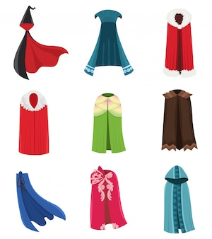 Cloaks party clothing and capes costume set. outdoor fabric