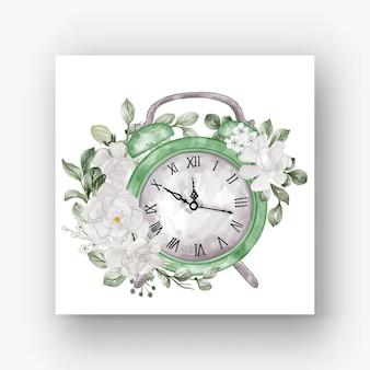 時計目覚まし花クチナシ白い水彩イラスト