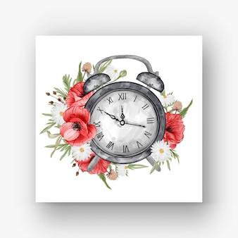 시계 알람 꽃 붉은 양귀비 수채화 일러스트