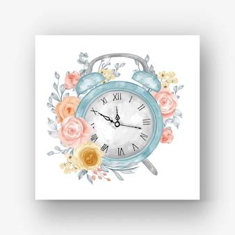 시계 알람 꽃 수채화 일러스트