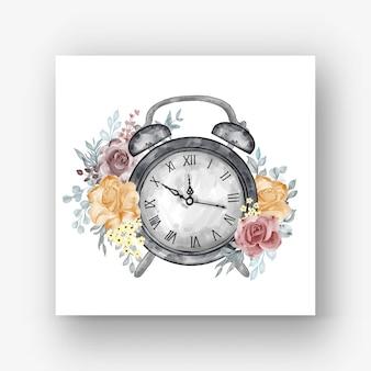 時計アラームローズオレンジマルーン水彩イラスト