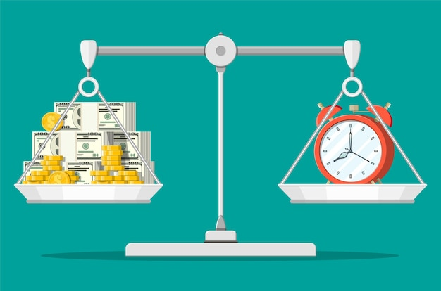Часы и деньги на весах