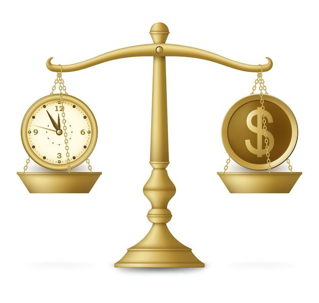 Часы и деньги на сбалансированной шкале. бизнес-концепция. иллюстрация.