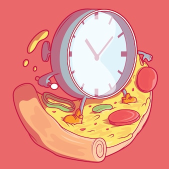 時計とピザ。配達、ファーストフード、ビジネスデザインコンセプト