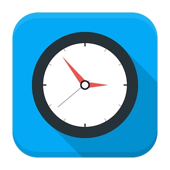 Clock app icon with long shadow. flat stylized square app icon with long shadow