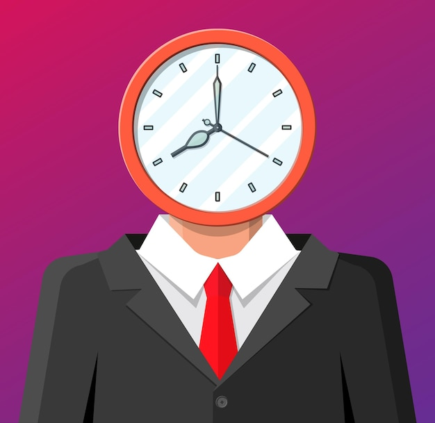 Clock on businessman head. clock face. time is money concept. time management. control strategy and tasks, business projects planning, deadline.