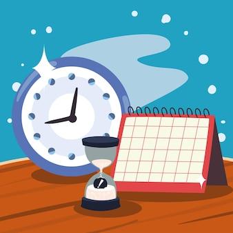 Clock calendar and sand hourglass