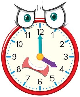 Clock cartoon character with facial expression