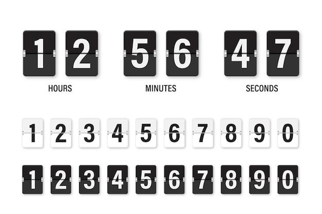 시계 카운트 다운 표시. 숫자 플립 시계를 설정합니다.