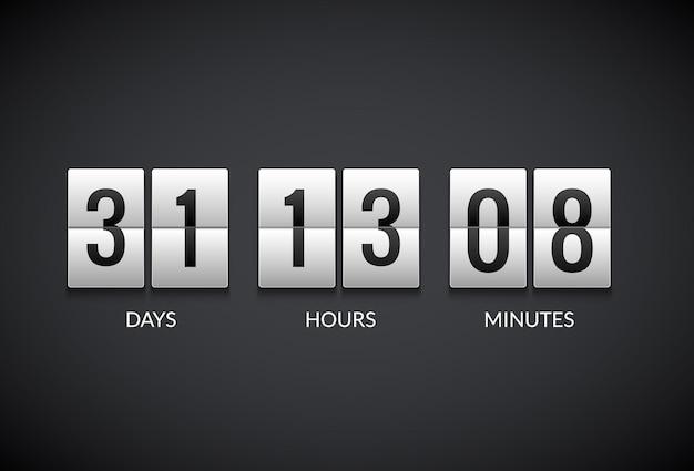 Часы счетчик обратного отсчета флип табло таймер. счетчик числа дисплей часы плоские часы.